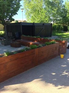 Egetræsbord udendørs